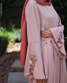 Gene blush abaya with bell sleeves   My Online Souk   www.myonlinesouk.co.za Modest Dresses, Eid, Bell Sleeves, Kimono Top, Blush, Studio, Clothes, Tops, Design