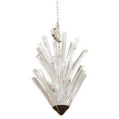 Mid Century Venini Chandelier with Faceted Glass Prisms