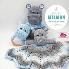 amigurumi free pattern New Free Pattern! Amigurumi Melman's Baby Kit: Hippo Melman - Teether / Rattle - Baby Blanket, available in our website /// Nuevo Patrn Gratuito! Crochet Hippo, Crochet Lovey, Crochet Baby Toys, Crochet Patterns Amigurumi, Crochet Dolls, Crochet Edgings, Crochet Motif, Crochet Shawl, Baby Hippo