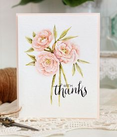 Watercolored Peonies card by Dawn Woleslagle for Wplus9 featuring Pretty Peonies and Hand Lettered Thanks stamps.