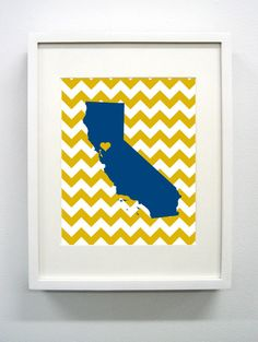 Davis California State Giclée Print  Blue and Gold by PaintedPost, $15.00 #paintedpoststudio - UC Davis - What a great and memorable gift for graduation, sorority, hostess, and best friend gifts! Also perfect for dorm decor! :)