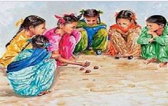 CHILDHOOD is the age span ranging from birth to adolescence .Childhood is divided up into the developmental stages of TODDLERHO. Childhood Memories Quotes, Childhood Games, Art Village, Indian Village, Punjab Culture, Love In Islam, Best Urdu Poetry Images, Indian Art Paintings, Traditional Paintings