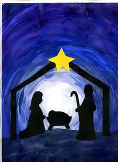 This Nativity Silhouette for Christmas was made in a Sunday school class. The true meaning of Christmas! Preschool Christmas, Christmas Crafts For Kids, Christmas Activities, Xmas Crafts, Christmas Projects, Christmas Decorations, Christmas Printables, Christmas Canvas, Christmas Paintings