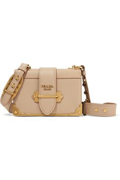 Prada& & bag is crafted from beige smooth and textured-leather. Inspired by trunk styles, this design has a structured rectangular silhouette and chunky gold hardware. It has a gusseted in Shoulder Strap Bag, Crossbody Shoulder Bag, Shoulder Handbags, Leather Shoulder Bag, Prada Purses, Prada Bag, Prada Handbags, Leather Purses, Leather Crossbody