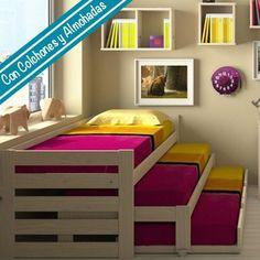 Cama compacta de 3 pisos + Cama nido + 3 Colchones + 3 Almohadas