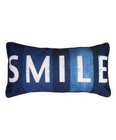 Look at this #zulilyfind! Navy 'Smile' Pillow #zulilyfinds