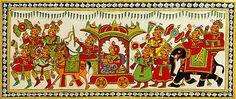 Rajput Bridal Procession (Phad Painting on Cloth - Unframed))