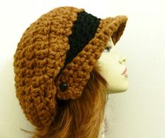 CROCHET HAT Pattern PDF for Winged Brim Slouchy by HandmadeCottage, $4.95