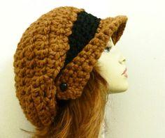 CROCHET HAT padrão PDF para Winged Brim Slouchy jornaleiro chapéu -Womens Hat Crochet Pattern