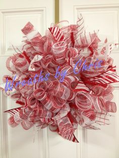 A small deco mesh spiral wreath in candy cane stripes!
