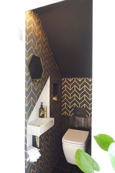 Small Downstairs Toilet, Small Toilet Room, Downstairs Cloakroom, Guest Toilet, Basement Bathroom, Bathroom Design Small, Bathroom Interior Design, Bathroom Under Stairs, Toilet Under Stairs