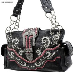 Cowgirl Bling Ranch, LLC - Concealed Carry Buckle Scroll Purse Black/Hot Pink, $39.99 (http://www.cowgirlblingranch.com/products/concealed-carry-buckle-scroll-purse-black-hot-pink.html)