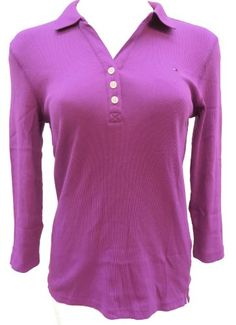 Tommy Hilfiger Womens 3/4 Sleeve Ribbed Polo