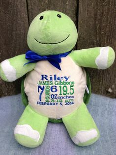 Personalized baby gift monogrammed baby gift pink sock monkey baby personalized baby gift monogrammed baby gift embroidered cubbies turtle baby boy baby girl nursery decor photo prop sea life green negle Images