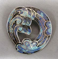 Large MARGOT de Taxco Designer, Vintage Late 40's or Early 1950's Mexican Mosaic ENAMEL Brooch in Sterling SILVER Pin..
