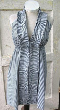 Rococo Tuxedo Silk Ruffle Dress in Seersucker Stripe from down de bayou. From Bayou Salvage on Etsy.