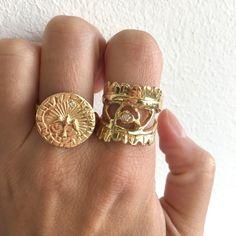 Eye of Warrior Ring, White Diamond, Sz 7