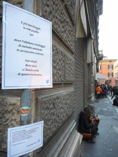 Via degli Orefici a Bologna verso il mondo della poesia errante.