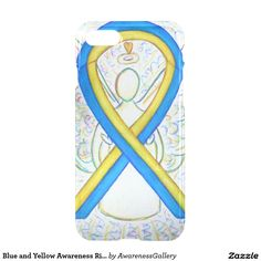 Blue and Yellow Down's Syndrome Awareness Ribbon iPhone 7 Custom Case (Options for iPhone 5 & 6 too)