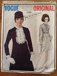 YSL Vogue Paris Original 1790 from 1967, Yves Saint Laurent Dress, Bust 34 - Selling on eBay