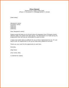 Resignation Letter Two Week Notice Sample  Cooking