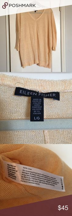 NWOT Eileen Fisher Linen Sweater This size L sweater from Eileen Fisher is made from 100% linen in a light sunshine color with 3/4 length sleeves. Never been worn! Eileen Fisher Sweaters V-Necks