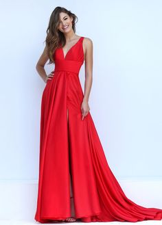Sexy Slit Evening Dress,V-neckline | Graduation, Long dresses and ...