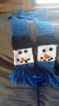 handmade cozy crocheted snowman scarf by Sweetchixhomestead, $35.00