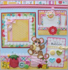 Baby / Girl Tear Bear premade scrapbook album pages Paper Piecing craftyemg