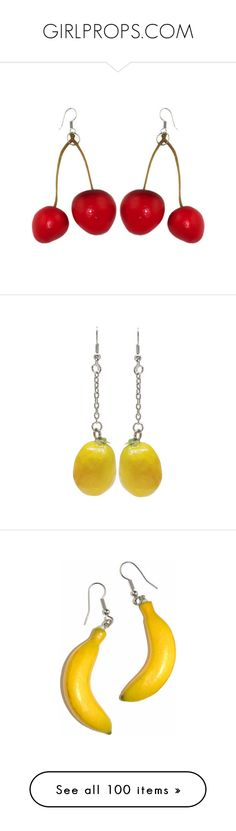 """GIRLPROPS.COM"" by raelenas ❤ liked on Polyvore featuring jewelry, earrings, earrings jewelry, accessories, lemon earrings, chain earrings, lemon jewelry, chains jewelry, lime green earrings and lime green jewelry"