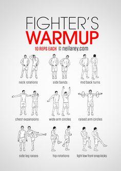 Fighter's warm-up routine.