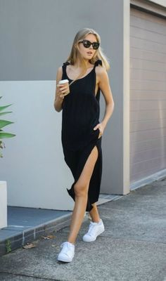 Casual black midi dress with slit - perfect for beach holiday