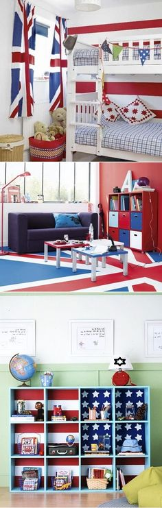 DIY Flag Themed Kids Bedrooms Like the fabric behind the cubbies! Bedroom Crafts, Bedroom Themes, Kids Bedroom, Diy And Crafts Sewing, Crafts To Sell, Diy Crafts, British Themed Bedrooms, Interior Exterior, Diy Interior