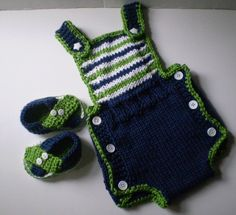 Hand crocheted Baby boy Sun suit with matching by MadebyMily, $23.00