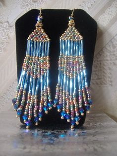 Long Blue multicolored Metallic Fringe Earrings.