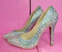 Ombre 3 color crystal Pointed toe pump Best Bridal Shoes, Blue Wedding Shoes, Pointed Toe Pumps, Blue Shoes, Get The Look, Crystals, Heels, Color, Fashion