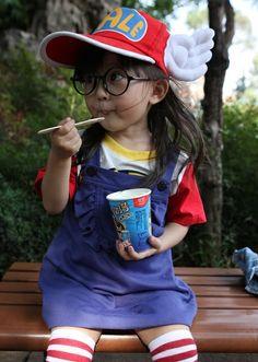 Adorable baby Arale cosplay! #cosplay #arale