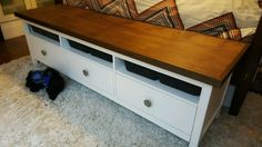 Materials: HEMNES TV unit I am using the HEMNES TV unit at the end of my bed. The perfect size for a king bed. I covered with a 3/4″ piece of birch plywood and then added 1 1/2″ miter cut trim. Wood + VITTSJO Industrial Media Console