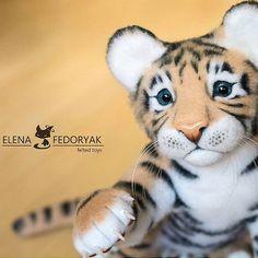 Cute Needle felted project wool animals tiger(Via @kittenblackua)
