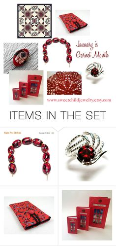 """""""January is Garnet Month"""" by sweetchildjewelry ❤ liked on Polyvore featuring art"""