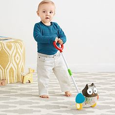 Specially designed for children learning to walk, the Explore & More Rolling Owl Push Toy from SKIP*HOP features an owl that waddles as it rolls along the floor. The beads in the owl's belly tumble around as it moves.