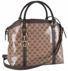 NEW Gucci 339551 GG Guccissima Crystal Canvas Charm LARGE Convertible Dome Purse #Gucci #Satchel
