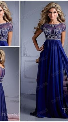2014 New arrival Blue chiffon Beaded Formal evening dress prom dress Cap sleeved floor length party dresses for christmas dress $129.99