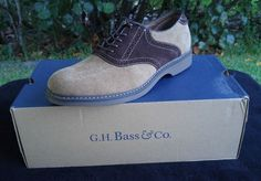 New Mens GH Bass Oxford Saddle Shoes Chadwick Tan Size 8.5 Brown Leather/Fabric #GHBassCo #Oxfords