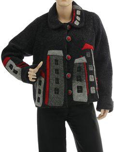 Lagenlook jacket with houses, boiled wool in dark grey M-L - Artikeldetailansicht - CLASSYDRESS Lagenlook Art to Wear Women's Clothing