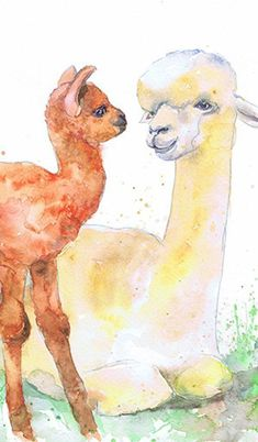Items similar to LLAMA - Mother and Baby Animals Watercolor Painting Alpaca Art Print for Nursery Decor on Etsy Watercolor Paintings Of Animals, Modern Art Paintings, Watercolor Art, Mother And Baby Animals, Sheep Drawing, Farm Art, Virtual Art, Painter Artist, Love Painting