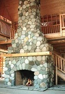 river stone fireplaces | Stone Or Rock Fireplace Designs . . . Rustic & Casual