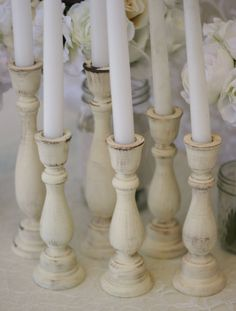 Shabby Chic Candle Holders Centerpieces Rustic Vintage Wedding Decor SET of 6