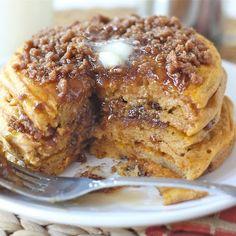 ... dessert or breakfast! Try these #pumpkin #cinnamon #streusel #pancakes
