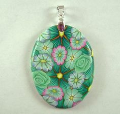polymer clay flower pendant 48 by clayhappy on Etsy, $8.50